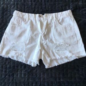 Shein white ripped jean shorts MEDIUM